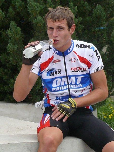 Martin Berka  v cíli cyklomaratónu Malou Hanou.