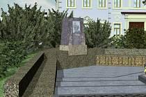 Vizualizace umístění pamatníku J. W. Goetha u Ottendorferova domu.