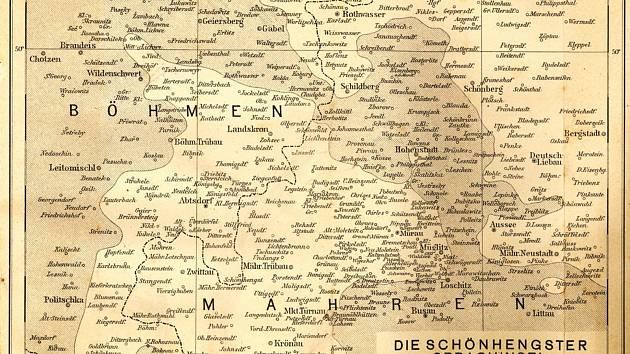 Mapa německého jazykového ostrova Hřebečsko (Schönhengstgau).