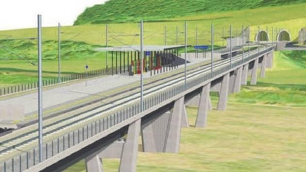 MÍSTO NÁDRAŽÍ ZASTÁVKA, a ke všemu mnohem dál od města. Takto by měla podle projektu vypadat zastávka Brandýs nad Orlicí před vjezdem do tunelu Oucmanice. Plnohodnotné nádraží však kupodivu nebude mít ani patnáctitisícové Ústí nad Orlicí, kde staví řada r