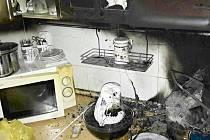 Požár v kuchyni.