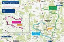 Mapa k uzavírce silnice I/43.