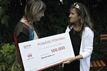 Dagmar Zezulová (vlevo) přijala dar 100 000 korun. Díky nim sdružení Děti patří domů pomůže dvanácti dětem.