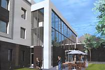VIZUALIZACE BUDOVY. Nynější vchod do Alternativního klubu Tyjátr a plechový přístřešek nahradí prosklená přístavba, která propojí všechny prostory. V plánu je i venkovní posezení.