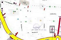 Mapa uzavírky vjezdu na náměstí