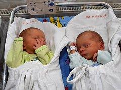 ŠIMON A MATOUŠ jsou dvojčata Věry a Josefa Jindrových z Osíka. Hoši narodili se 14. ledna tři minuty po jedné hodině ráno. Starší Šimon měřil 45 centimetrů a vážil 2,1 kilogramu. Matouš měřil 46 centimetrů a vážil 2,25 kilogramu.