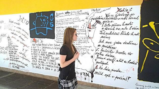 """BÁSNĚ NA ZDI SUPERMARKETU každý den míjí stovky lidí a málokdo poezii mine bez povšimnutí. """"Každý den chodím kolem a vždycky si některou básničku přečtu. Díky autorům za nápad,"""" říká Kristina Tichá. Dodává, že verše jsou pro ni jako milé pohlazení."""