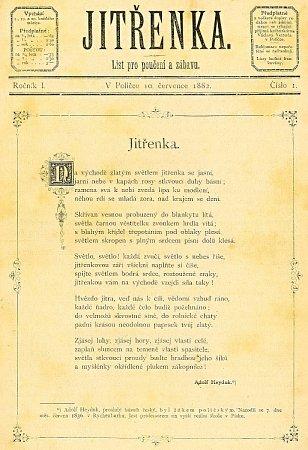 TITULNÍ STRÁNKA 1.čísla Jitřenky zroku 1882zarchivu Městské knihovny vPoličce