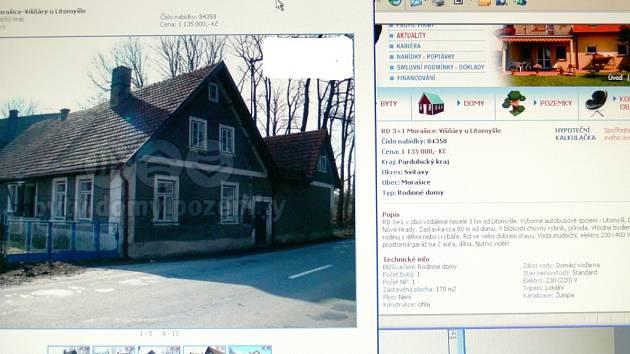 Majitel  objektu Michal Pinc prodává na vlastní pěst nemovitost přes realitní kancelář za více než jeden milion korun.