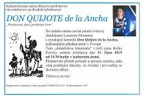 Plakát k divadelní hře Don Quijote de lan Ancha.