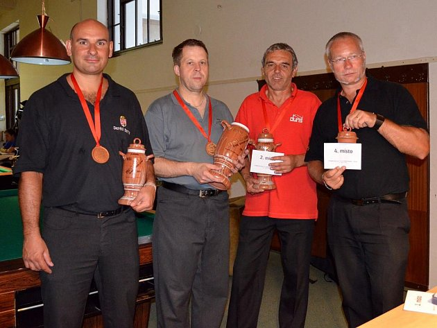 Čtyři nejlepší hráči Primator Cupu při závěrečném vyhlášení výsledků.