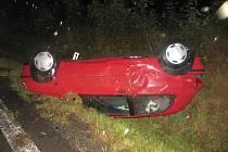 Havárie vozu Ranault Clio v Pomezí