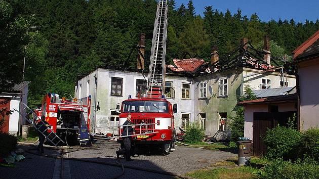 Požár domu v Březové nad Svitavou.