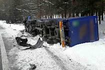 Při nehodě, která se stala ve středu 18. ledna kolem sedmé hodiny ráno na hlavním tahu z Mohelnice na Hradec Králové u Borušova, se střetla dodávka s nákladním autem. Řidiče dodávky museli ze zdemolovaného vozu vystříhat hasiči.