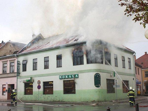Požár hotelu Morava vMoravské Třebové.