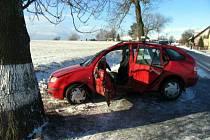 U Koclířova havaroval automobil Škoda Fabia.
