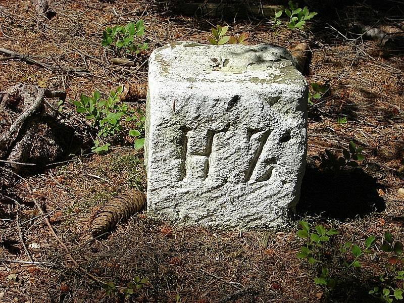 Hraniční kameny na Javornickém hřebenu u Svitav.