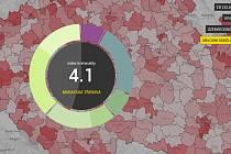 Mapa kriminality. Webová prezentace přináší aktuální data z policejních statistik po jednotlivých měsících. Poslední jsou z loňského listopadu