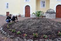 PRACOVNICE HRADU  osázely  nový kruhový záhon na nádvoří  Svojanova. Ten se stal novou dominantou prostoru, kde jsou lidé zvyklí potkávat šermíře a další umělce.