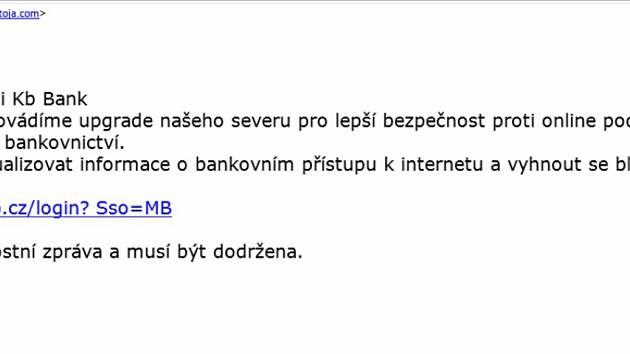 PŘÍKLAD PODVODNÉHO E-MAILU, který nyní útočí na klienty Komerční banky.