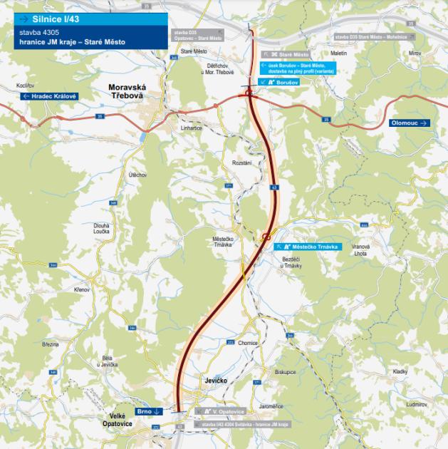 PlansSD قصد دارد یک انتقال جدید در جاده I / 43 ایجاد کند ، که از شهرداری ها جلوگیری می کند.  مشخص نیست که آیا پارامترهای بزرگراه وجود خواهد داشت یا خیر.