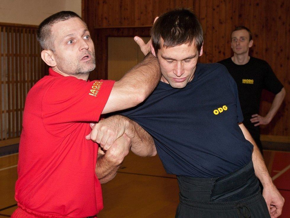 Jak proti agresivitě. Zkušený lektor účastníkům názorně předvedl, že k potlačení útoku často stačí je velmi málo síly.