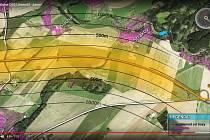 Snímek ukazuje vzdálenost dálnice od nejbližší zástavby. V celém úseku D35 kolem Litomyšle vede nejblíž u Strakova, nejbližší zdejší domy budou vzdálené 400 metrů. Naopak Kornice jsou více než 500 metrů daleko.