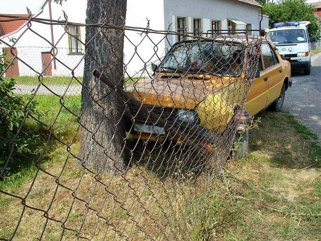Opilá řidička narazila do plotu.