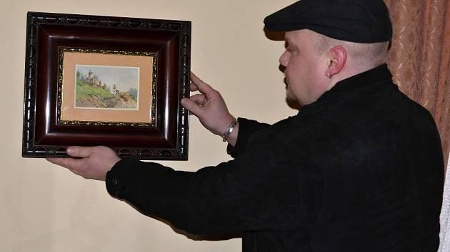 Malba s vyobrazením hradu Svojanov.