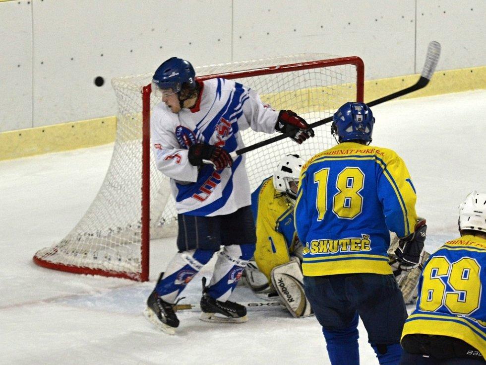 Obléhání skutečské svatyně přineslo litomyšlským hokejistům deset gólových zásahů a předpokládanou klidnou výhru.
