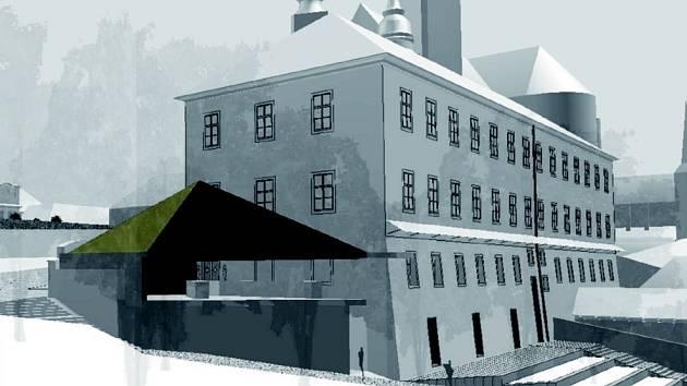 MUZEUM  podle  návrhu architekta Josefa Pleskota. Nový vstup bude u severozápadní strany.