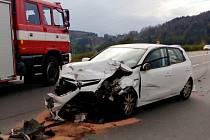 Dopravní nehoda dvou osobních automobilů na silnici I/35 pod Hřebečským tunelem.