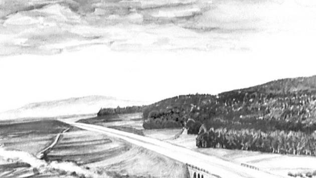 VIZUALIZACE KRASÍKOV. U Krasíkova měla plánovaná dálnice překonat železniční trať a také řeku Moravská Sázava.