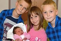 ANNA ŠUDOMOVÁ. Narodila se 13. září Monice a Milanovi z Březové nad Svitavou. Měřila 51 centimetrů a vážila 3,65 kilogramu. Do porodnice se za maminkou a sestřičku přišli podívat sourozenci Veronika, Jan a Jakub.