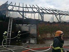 Požár stodoly v Litomyšli.