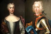 Portréty prvního páru majitelů z rodiny Waldstein Wartenberg.  Manželé Josefa Trauttmansdorff a František Waldstein.