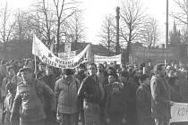 Demonstrace ve Vysokém Mýtě v roce 1989.