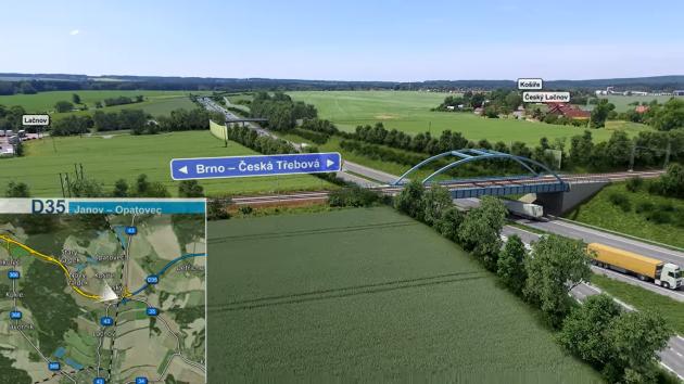 Plánovaný železniční most přes budoucí dálnici D35 u svitavského Lačnova. Bude se stavět dřív než samotná dálnice.
