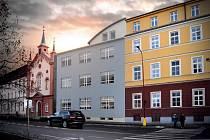 VLEVO od kaple je vizualizace budoucího KODUSu, vpravo seniorcentrum, které se bude rozšiřovat.