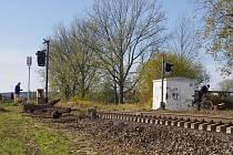 Výměna kolejí na  trati mezi Poličkou a Svitavami.