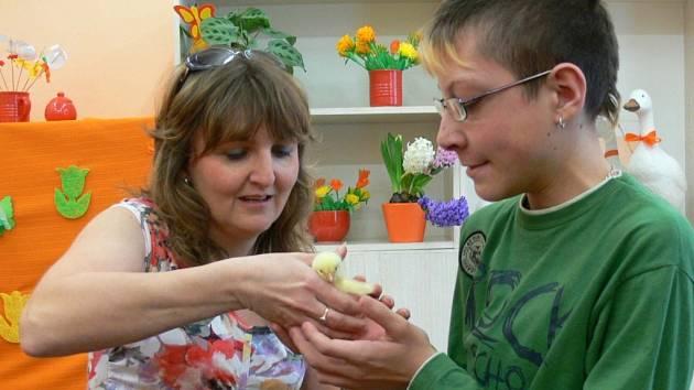 Živý tvor v rukou postižených dětí. Školáci přišli na výstavu kvůli zvířátkům.