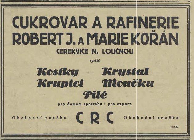 Dobová reklama na cerekvický cukrovar zroku 1929.