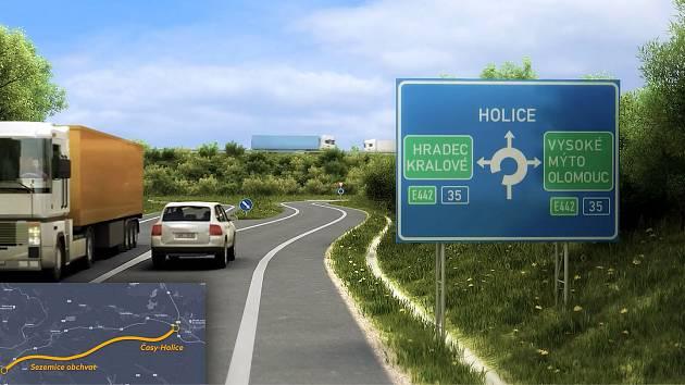 SNÍMEK Z ROKU 2023. Takto bude podle vizualizace vypadat příjezd po novém sezemickém obchvatu silnice I/36 na křížení s dálnicí D35 u Časů. Tento přivaděč na dálnici vedoucí mezi Pardubicemi a Holicemi bude jediný, který postaví státní ŘSD, všechny ostatn