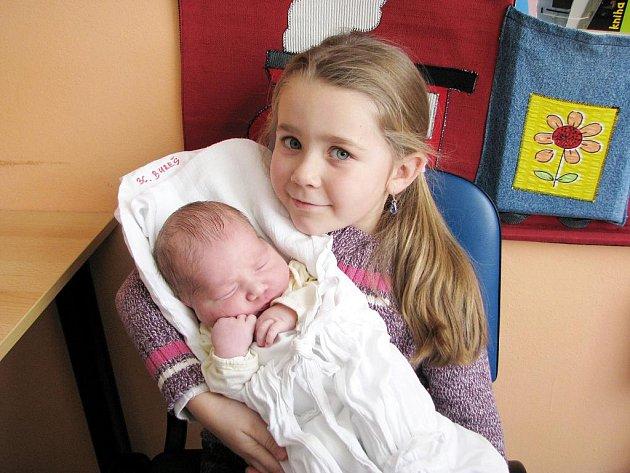DAVID BUREŠ. Terezka přijela za svým bráškou až z Linhartic. Rodičům Ivě a Davidovi se synek narodil ve svitavské porodnici 26. ledna v 1.45 hodin. Chlapeček po narození měřil 51 centimetrů a vážil 3,65 kilogramu.