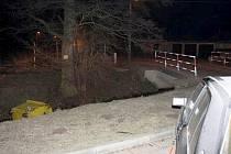 Opilý řidič srazil kontejner do potoka.