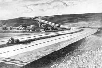 VIZUALIZACE. Podoba provedení dálnice u osady Bílá Studně.