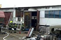 Požár ocelové kůlny v Jevíčku