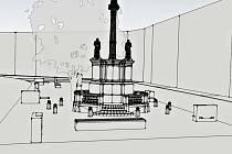 Jeden z prvních návrhů podoby klidové zóny na Smetanově náměstí v Litomyšli u morového sloupu.