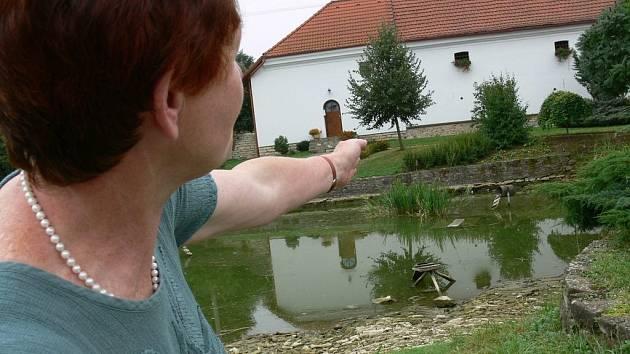 Starostka Újezdce Hana Dostálová ukazuje, kde sídlí hejno kačen.