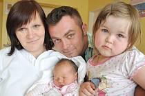 KATRIN KYSELOVÁ.  Rodiče Martina a Václav se od 6. června radují z druhé dcerky. Katrin se narodila v Litomyšli přesně ve dvacet hodin.  Vážila 3,4 kilogramu a měřila 51 centimetrů.  Na sestřičku se těšila i tříletá Danielka. Budou vyrůstat v Krouně.